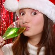 Stock Photo: Pretty girl in Santa hat