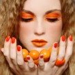 Orange makeup - Stock Photo