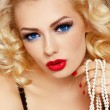 Blonde with pearls - Stock Photo