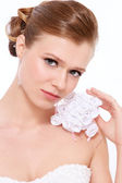 Bride with fancy bouqet — Stock Photo