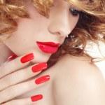 Постер, плакат: Manicure and lipstick