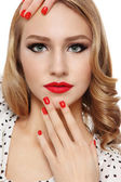 Nails and lips — Stock Photo