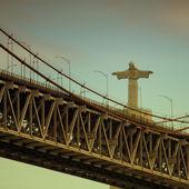 Lisbon Bridge with Jesus Christ Statue — Stock Photo
