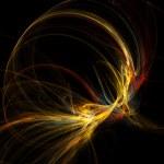 Abstract Warm Fractal Nebula on Black Background — Stock Photo