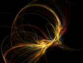 Abstract Warm Fractal Nebula on Black Background — Stock Photo