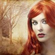 Beautiful redheaded woman on a background of forest, Renaissance - Stock Photo