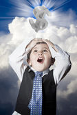 Criança vestida como homem de negócios com as mãos na cabeça e dólar sig — Foto Stock