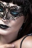 Detalj av ansiktet med vacker och sexig kvinna med delikat venetia — Stockfoto