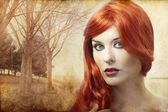 Beautiful redheaded woman on a background of forest, Renaissance — Stock Photo