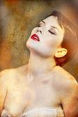 Sensual brunette in white lingerie — Stock Photo