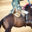 Matador and horseback in bullring — Stock Photo