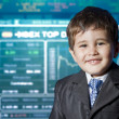 Child dressed businessman with funny face. stock market — Stock Photo