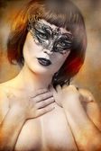 Mysterious woman with artistic style Venetian mask — Stockfoto