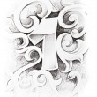 Royalty-Free Stock Photo: Tattoo sketch of one number, hand made
