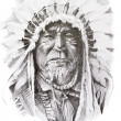 Tattoo sketch of Native American Indian chief, hand made — Stock Photo