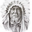 Tattoo sketch of Native American Indian chief, hand made — Stock Photo #14941257