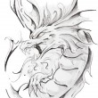 Tattoo sketch of medieval dragon, hand made - Stock Photo