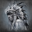 Tattoo art, portrait of american indian head over dark backgroun — Stock Photo #14945203