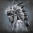 Tattoo art, portrait of american indian head over dark backgroun — Stock Photo