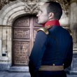 Spanish old soldier, elegant historical costume - Stock Photo