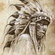 Sketch of tattoo art, native american indian head, chief, vintag — Stock Photo