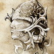 Sketch of tattoo art, warrior, hand made - Stock Photo