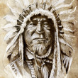 Sketch of tattoo art, native american indian head, chief, vintag — 图库照片