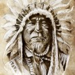 Sketch of tattoo art, native american indian head, chief, vintag — ストック写真