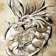 Royalty-Free Stock Photo: Sketch of tattoo art, medieval dragon, vintage style