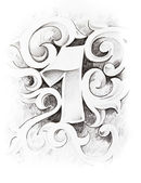 Tattoo sketch of one number, hand made — Foto de Stock