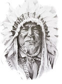 Tetování náčrt rodilý američan indické šéfe, ruční práce — Stock fotografie