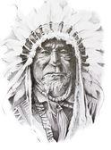 美洲原住民印第安酋长,手工制作的纹身素描 — 图库照片