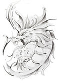 Tattoo sketch of medieval dragon, hand made — Stock Photo