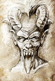 Sketch of tattoo art, devil head, gothic, vintage style — 图库照片