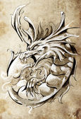 Sketch of tattoo art, medieval dragon, vintage style — Stock Photo