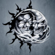 Sketch of tattoo art, sun and moon - Stock Photo