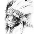 Sketch of tattoo art, native american indian head, chief, isolat - Stock Photo