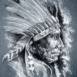 Sketch of tattoo art, native american indian head, chief, dirty — Stock Photo