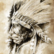 Sketch of tattoo art, native american indian head, chief, vintag - Stock Photo