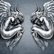Sketch of tattoo art, two angels, fantasy concept - Foto de Stock