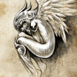 Sketch of tattoo art, heaven angel with wings - 图库照片