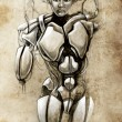 Royalty-Free Stock Photo: Sketch of tattoo art, android, robot, fantasy illustration