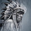Native american indian head, chief, vintage style — Stock Photo #18928005