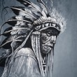 Native american indian head, chief, vintage style - Stock Photo
