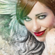 Mixed media, beautiful woman with red hair with wings, art illus — Stock Photo