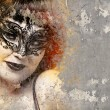Stock Photo: Portrait of beautiful womover dirty wall with venetimask,