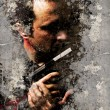 Street art, Portrait of gangster over dirty wall - Stock Photo