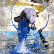 Stock Photo: Jumping dolphin. Artistic image with textured background. Ring