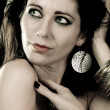 Stock fotografie: Elegant fashionable woman with silver jewelry