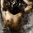 Artistic portrait of a nude man with gas mask with textured back - Stockfoto
